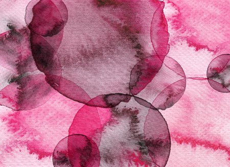 Pink abstract circle watercolor background. Hand drawn circles illustration.