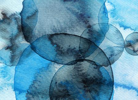 Blue abstract circle watercolor background. Hand drawn circles illustration. Reklamní fotografie