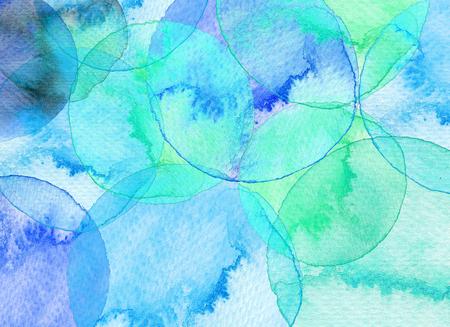 Abstract circle watercolor background. Hand drawn circles illustration.