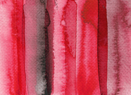 Red abstract watercolor background. Hand drawn illustration.