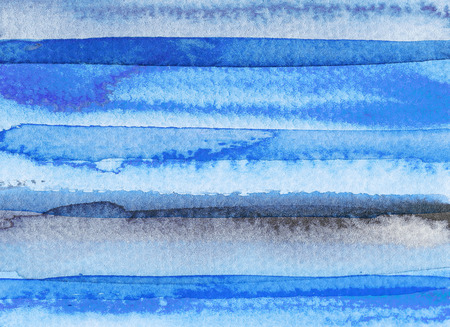 Blue abstract watercolor background. Hand drawn illustration.