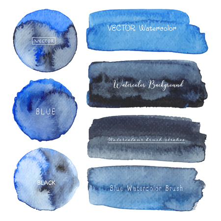 Set of blue watercolor on white background, Brush stroke watercolor, Vector illustration.