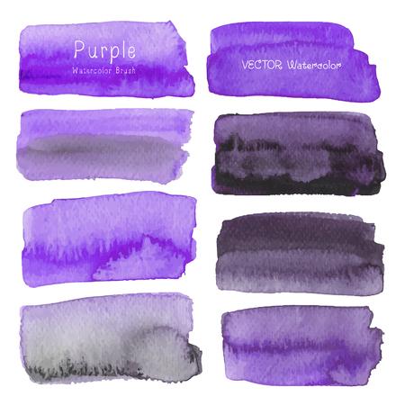 Set of purple watercolor on white background, Brush stroke watercolor, Vector illustration. Ilustrace