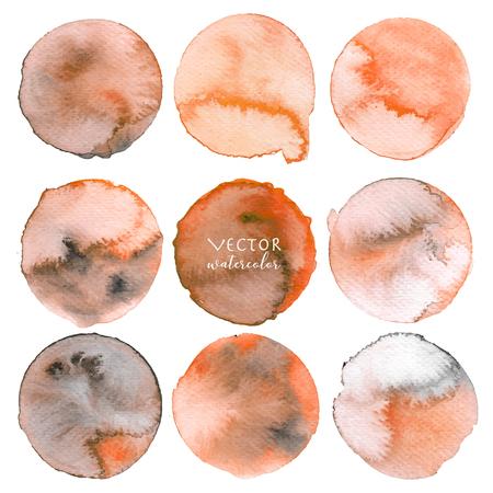 Orange watercolor circle set on white background, Vector illustration.