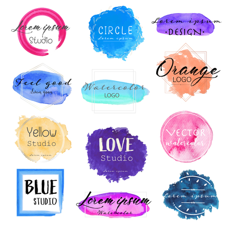 Watercolor logo set, Feminine logo design set, Colorful vector Illustration. Ilustrace