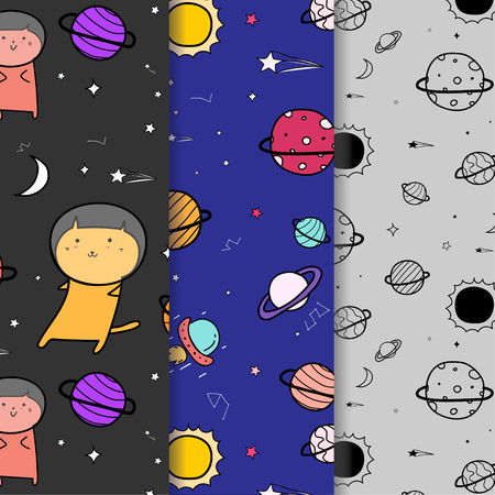 Set Of Hand Drawn Cute Cats Vector Pattern Background. Doodle Funny. Handmade Vector Illustration.