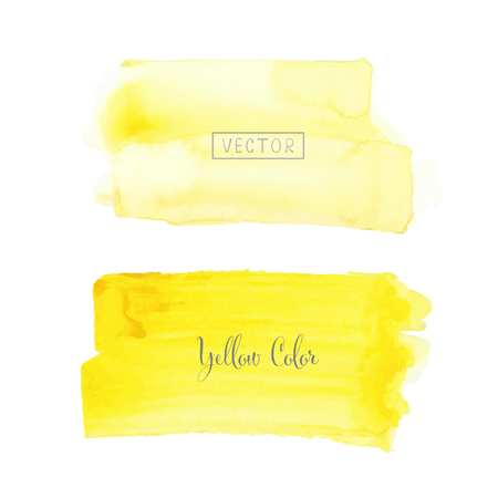 Yellow brush stroke watercolor on white background. Vector illustration.