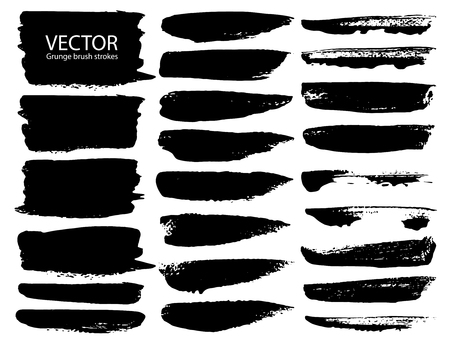 Set of brush strokes, Black ink grunge brush strokes. Vector illustration. Banco de Imagens - 119843513