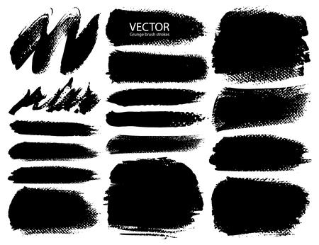 Set of brush strokes, Black ink grunge brush strokes. Vector illustration.