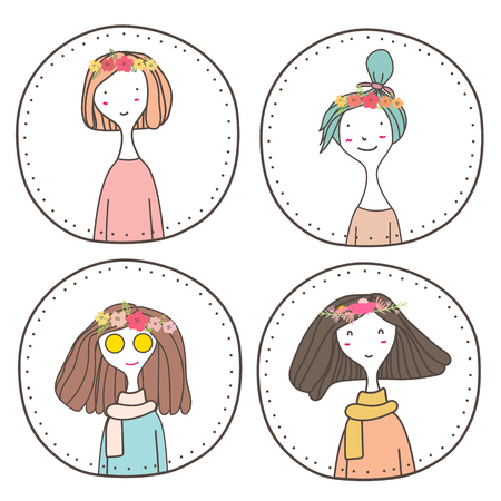 Set of cute girls character design, Cute girl stamp, Vector illustration.