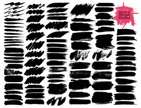 Big set of brush strokes, Black ink grunge brush strokes. Vector illustration. Ilustrace