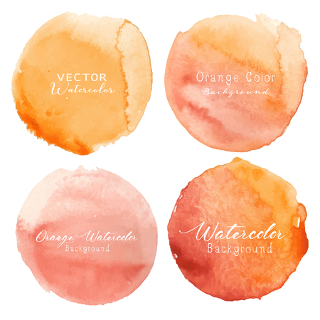 Orange watercolor circle set on white background. Vector illustration.
