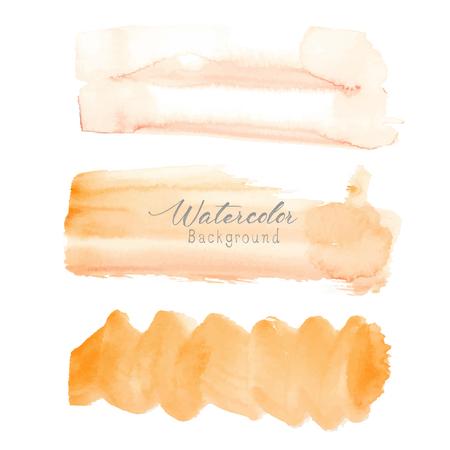 Orange brush stroke watercolor on white background. Vector illustration. Ilustrace