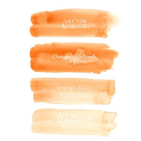 Orange brush stroke watercolor on white background. Vector illustration. Illustration