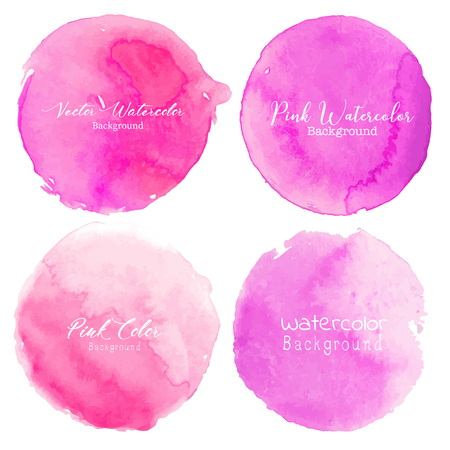Pink watercolor circle set on white background. Vector illustration.