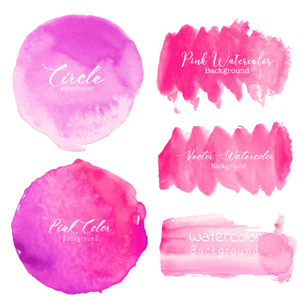 Pink brush stroke watercolor on white background. Vector illustration.