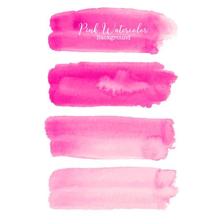 Pink brush stroke watercolor on white background. Vector illustration.