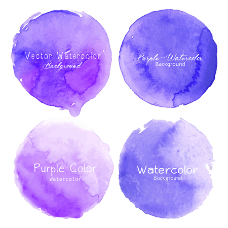 Purple watercolor circle set on white background. Vector illustration.