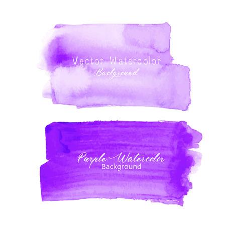 Purple brush stroke watercolor on white background. Vector illustration. Vectores