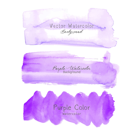 Purple brush stroke watercolor on white background. Vector illustration. Ilustrace