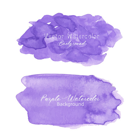 Purple abstract watercolor background. Watercolor element for card. Vector illustration.