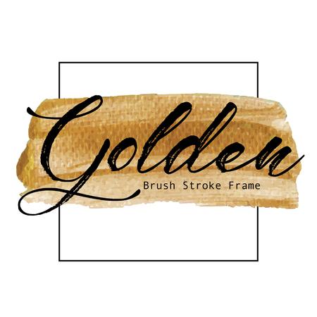 Golden brush stroke frame, Gold texture paint stain, Vector illustration.