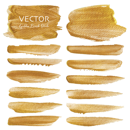 Golden vector brush stroke, Gold texture paint stain, Vector illustration. Ilustrace