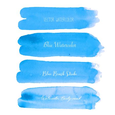 Blue brush stroke watercolor on white background. Vector illustration