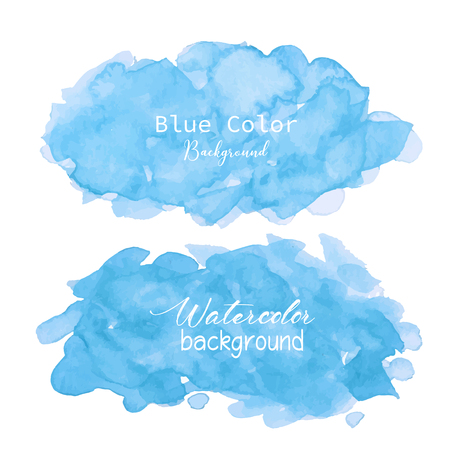 Blue abstract watercolor background. Watercolor element for card. Vector illustration. Ilustracja