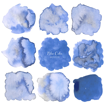 Blue abstract watercolor background. Watercolor element for card. Vector illustration. 일러스트