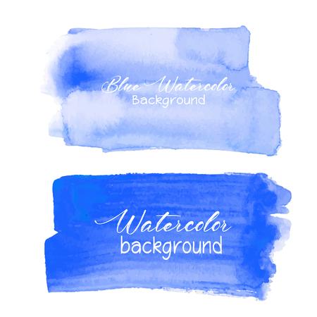Blue brush stroke watercolor on white background. Vector illustration.