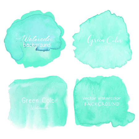 Green abstract watercolor background. Watercolor element for card. Vector illustration.