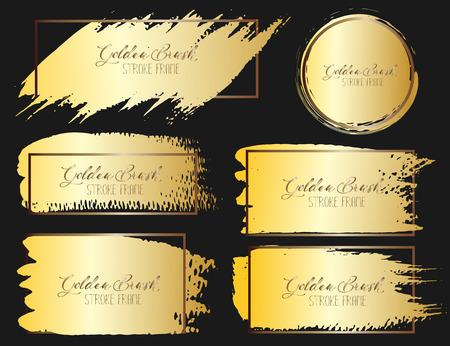 Set of brush stroke frame, Gold grunge brush strokes. Vector illustration.