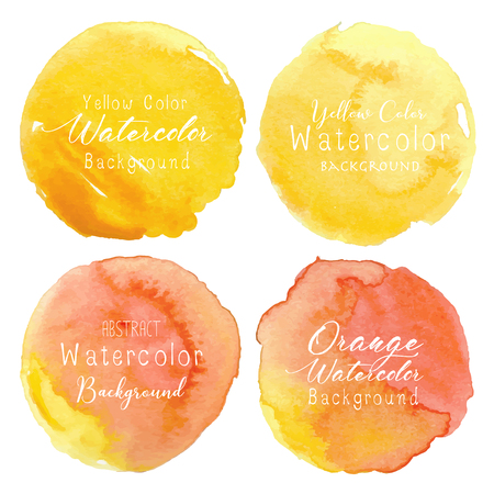 Yellow watercolor circle set on white background. Vector illustration. Banco de Imagens - 119843022