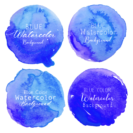 Blue watercolor circle set on white background. Vector illustration.