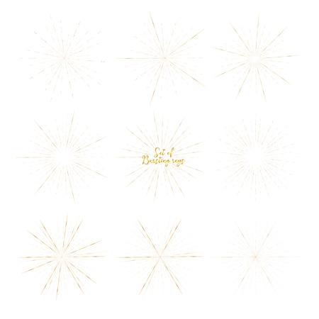 Set of golden sunburst style isolated on white background, Bursting rays vector illustration.