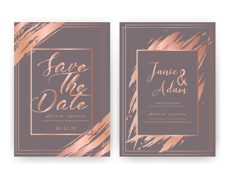 Wedding invitation card, Save the date wedding card, Modern card design with golden geometric and brush stroke, Vector illustration.
