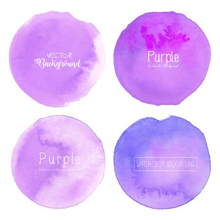 Purple watercolor circle set on white background, Pastel watercolor logo, Vector illustration. Ilustrace