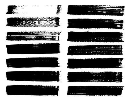Set di pennellate, pennellate di inchiostro nero grunge. Illustrazione vettoriale.