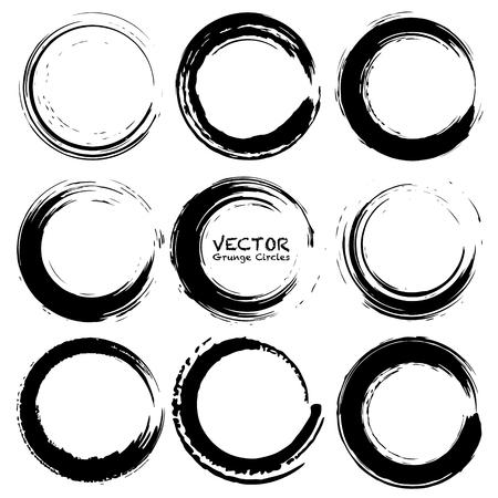 Conjunto de círculos de grunge, formas redondas de grunge, ilustración vectorial.