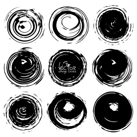 Set of grunge circles, Grunge round shapes, Vector illustration. Ilustrace