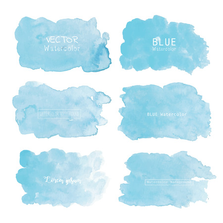 Blue watercolor background, Pastel watercolor logo, Vector illustration. Reklamní fotografie - 122372053
