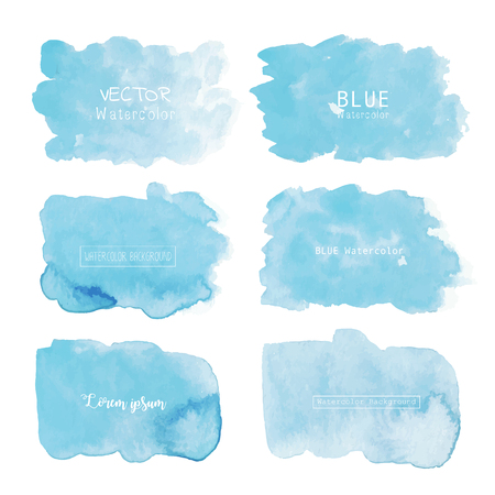 Blue watercolor background, Pastel watercolor logo, Vector illustration.