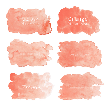 Orange watercolor background, Pastel watercolor logo, Vector illustration.