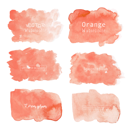 Orange watercolor background, Pastel watercolor logo, Vector illustration.