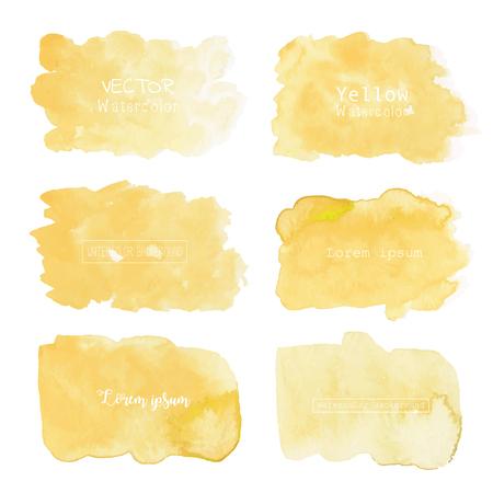 Yellow watercolor background, Pastel watercolor logo, Vector illustration.