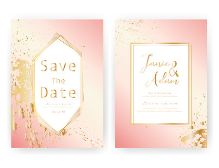Wedding invitation card, Save the date wedding card, Modern card design with golden geometric and brush stroke, Vector illustration. Reklamní fotografie - 122372059