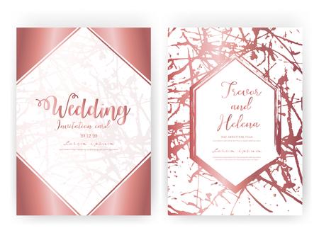 Wedding invitation card, Save the date wedding card, Modern card design with golden geometric and brush stroke, Vector illustration. Reklamní fotografie - 122372062
