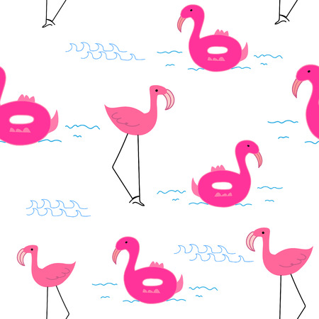 Flamingo pattern background, Tropical flamingo pattern, Vector illustration. Reklamní fotografie - 122861445
