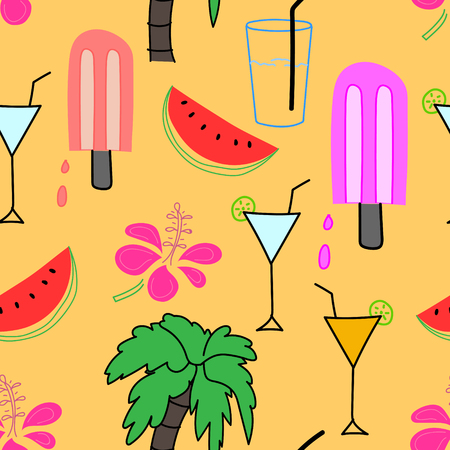 Summer pattern background, Hand drawn tropical pattern, Vector illustration.